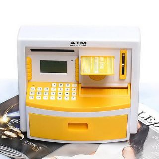 ATM Toy Automatic Teller Machine Money Talking Savings Bank Kid's Present Yellow