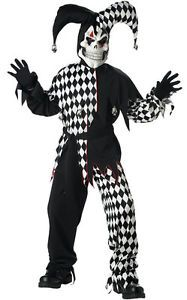 New Wicked Evil Jester Clown Skull Scary Child Boys Halloween Costume s M L XL