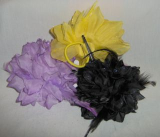 Hot Trend Glitter Trim Feather Flower Hair Clip Brooch Corsage 4986 7 Colors