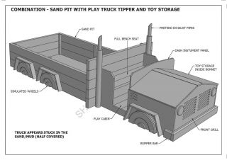 Kids Sand Pit with Play Truck Toy Storage Combo Building Plans V1 Unique