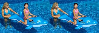 2 New Swimline 90453 Swimming Pool Inflatable Dolphin Stable Ride on Float Toys