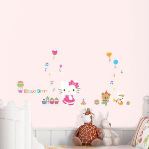 Cute Hello Kitty Toys Removable Wall Decor Art Sticker Girl Kids Nursery