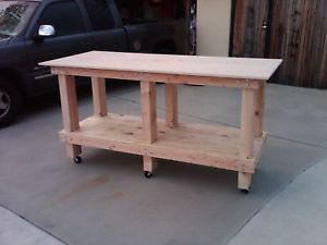 Perfect Solid Wood Work Bench on Heavy Duty Casters