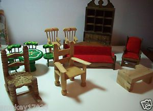 Barbie Doll House Furniture Homemade Wood Bedroom Painted Dining Miniatures Look