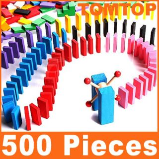 500 Pcs Colorful Wood Dominoes Educational Toy Kids