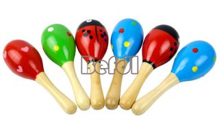 New Hot Wooden Maraca Rattles Kid Music Party Favor Child Baby Shaker Toy BF00