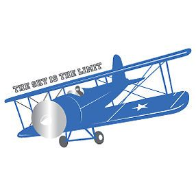 Vintage Airplane Theme Wall Decal Stickers Bedroom Kids Child Boys Plane