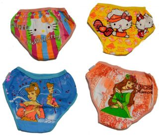 New Cute Baby Girl Hello Kity Princes Panties Briefs Bloomer Diaper Cover 4 Lot