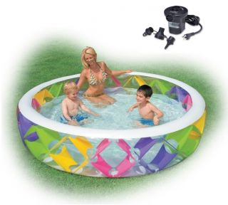 Intex Swim Center Pinwheel Inflatable Kids Swimming Pool w Air Pump 56494EP