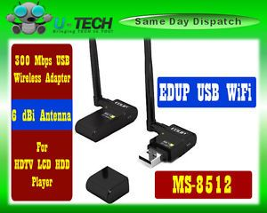 EDUP EP MS8512 300Mbps USB Wireless WiFi Adapter Antenna for HDTV LCD HDD Player