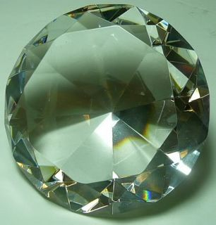 Large 100 mm Cut Glass Diamond Paperweight Clear Gift