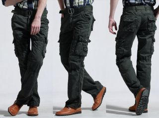 Fashion New Men's Casual Cargo Loose Combat Pocket Long Jeans Pants Trousers Hot