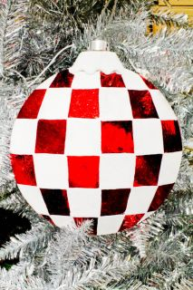 "Large 8""Shatterproof Red White Glittered Christmas Ornament Checkered Pattern"