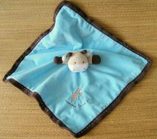 Carters Blue Brown Mommy Loves Me Giraffe Rattle Lovey Security Blanket OS