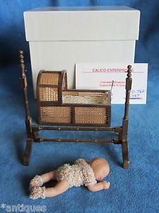Vintage Miniature Artist Signed Red Head Baby Cradle Doll House Bed not Antique