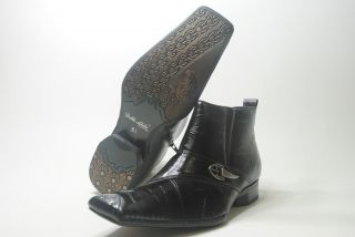"Delli Aldo Italian Style Dress Shoes ""Black 638"" Boots with Ziper"