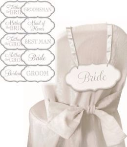 Wedding Bridal Party Hanging Chair Signs Place Cards Silver and White 16 Pack