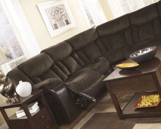 Contemporary Upholstery Fabric and Faux Leather Reclining Sofa and Loveseat Set