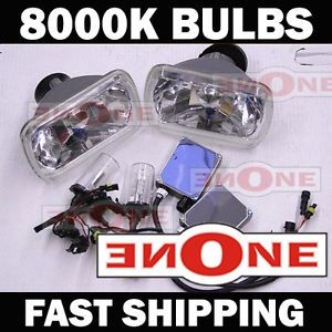 HID Headlight Conversion Kit w Real 8000K H4 Bulbs 7x6 Chrome Housings Bluish