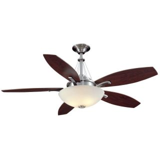 "Hampton Bay Brookedale 60"" Ceiling Fan Brushed Nickel Remote Control Bowl Dome"