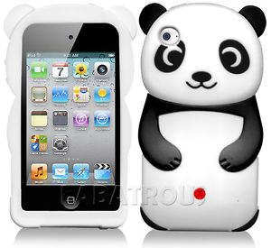 For iPod Touch 4 3D Cute Panda Black White Rubber Silicone Case