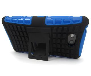 Blue Black Heavy Duty Durable Protective TPU Cover Case w Stand Nokia Lumia 820