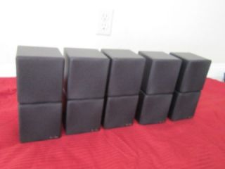 New 5 Dual Cube Speakers Home Theater Rear Black Surround Sound System Set Lot