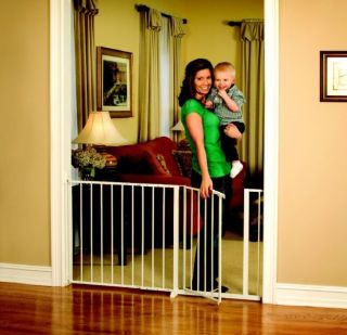 Extra Wide Walk thru Baby Child Proof Gate Dog Pet Home Safety Metal Stair Fence