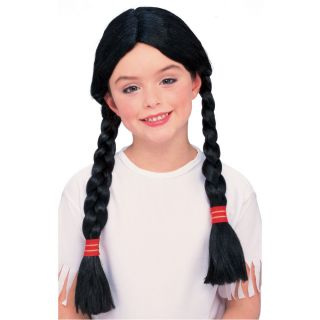 Girls Indian Wig Pocahontas Black Long Braided Hair Childs Kids Native American