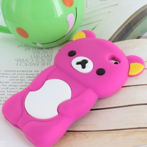 Pink 3D Teddy Bear Silicone Gel Skin Case Cover for iPod Touch 4 4th Accessory