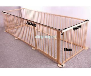 8 Panel Baby Wooden Doll Room Divider Playpen for Toddler Pet or Child Wood