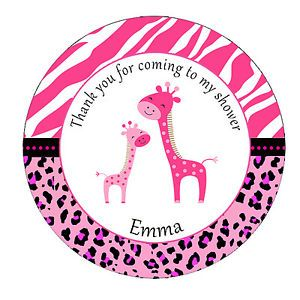 40 Thank You Label Stickers Zebra Leopard Giraffe Jungle Safari Baby Shower Pink