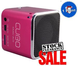 Mini Portable Speaker and Digital Music Player SD Card iPhone iPad iPod Pink