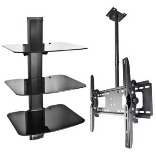 Ceiling TV Mount LCD 3 Tier DVD Wall Mount Cable Box Game Console Stereo Rack