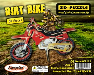 Dirt Bike Motorcycle Pre Colored 3D Puzzle Wood Craft Construction Kit