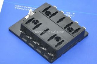 10 Position ATO ATC Fuse Panel w Cover and Label Fuse Block