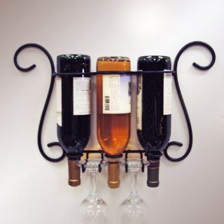 Wire Black Bottle and Wine Glass Rack Holder Three Wall