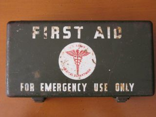 WW2 US Jeep MB GPW Vehicle First Aid Kit Tin Paper Label Intact