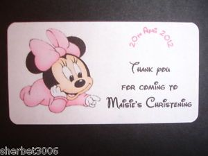 Personalised Baby Girl Christening Minnie Mouse Medium Labels Stickers