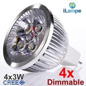 4X Dimmable 4X3W CREE Chip MR16 GU5 3 Spot LED Light Bulbs Lamp Warm White 12V W