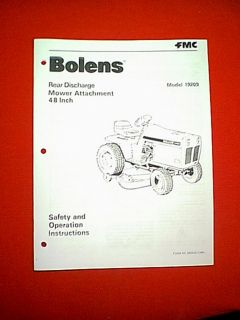 "Bolens Tractor 48"" Rear Discharge Mower Deck Attachment 19209 Owner's Manual"