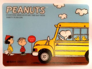 Big Collectible Peanuts Snoopy School Bus Mouse Pad Computer Accessories Gift