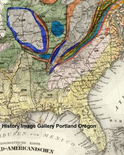 1860 Huge Geologic Map of Young United States America