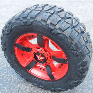 "20"" Red Black XD Rockstar II Wheels 33"" Nitto Mud Grappler Tire Chevy GMC Ford"