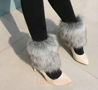 New Boot Cuff Fluffy Soft Furry Faux Fur Leg Warmers