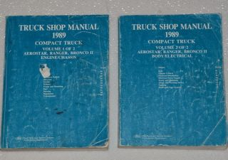 1989 Ford Ranger Truck Bronco II Aerostar Van Shop Service Repair Manual Set 89