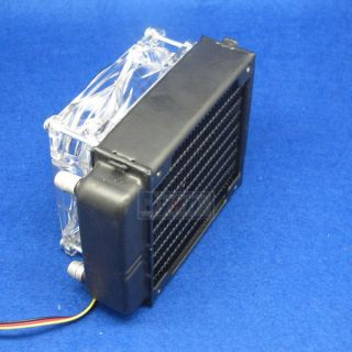 Aluminum Water Cooling Block Water Cooled Row Heat Exchanger with LED Fan for PC