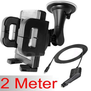 2M 2 Meter Long Micro USB in Car Charger Windshield Phone Holder Suction Mount