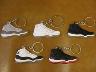 New 5 Color of Jordan 11 Basketball Shoes AJ11 Keychain Key Ring 5pcs