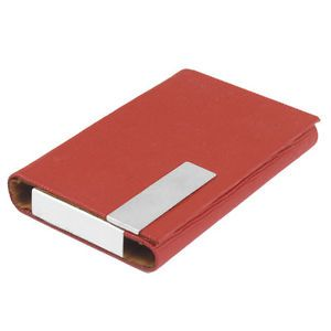 Stripe Design Red Magnetic Faux Leather Coated Business Card Box Case Holder